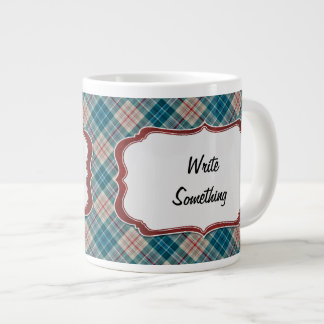 Red Blue Plaid Background Lable Large Coffee Mug