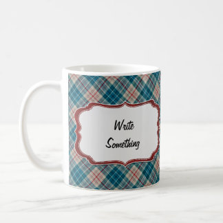 Red Blue Plaid Background Lable Coffee Mug