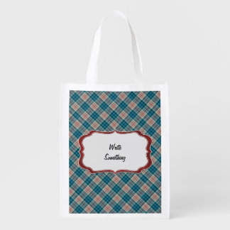 Red Blue Plaid Background Lable Reusable Grocery Bag