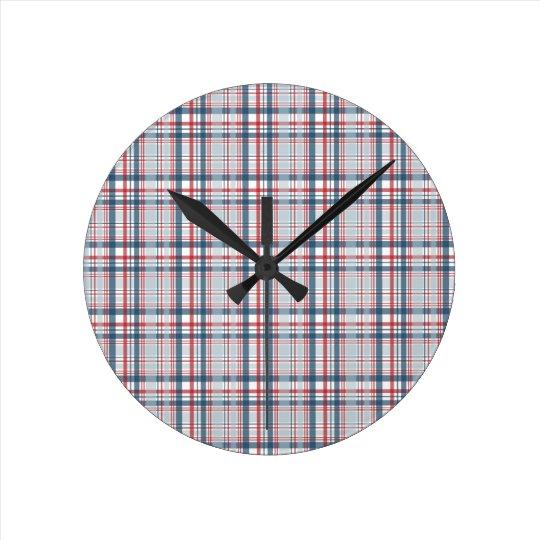 Red Blue Plaid Round Clock
