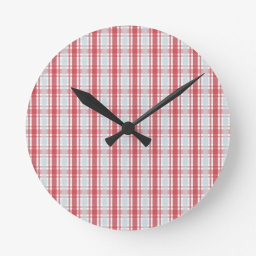 Red Blue Plaid Round Wall Clock
