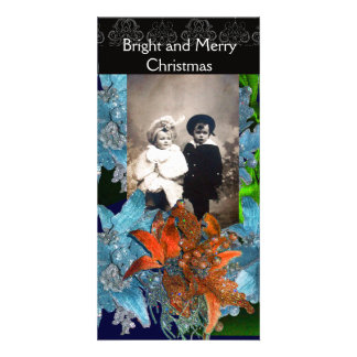 RED BLUE POINSETTIAS,CHRISTMAS STARS IN SPARKLES CARD