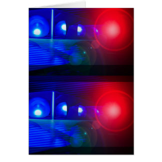 red & blue police lights greeting card