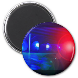 red & blue police lights magnet