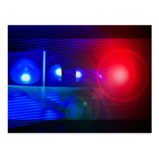 red & blue police lights post cards