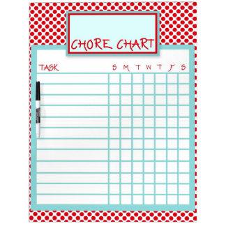Red & Blue Polka Dot Chore Chart Dry-Erase Whiteboard