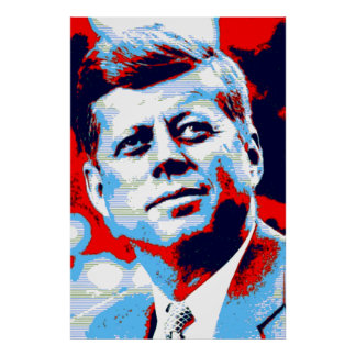 Red Blue Pop Art JFK John F. Kennedy Poster