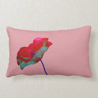 Red blue poppy on pink lumbar pillow