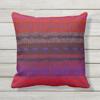 Red Blue Purple Woven Look Stripes Outdoor Pillow