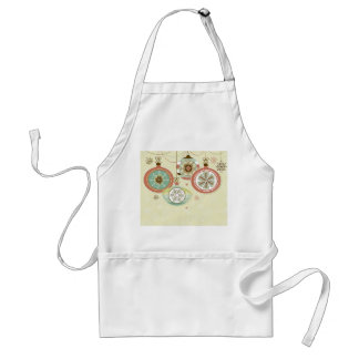Red & Blue Retro Christmas Ornaments Adult Apron
