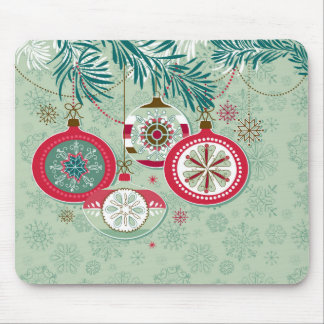 Red & Blue Retro Christmas Ornaments Mouse Pad