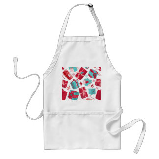 Red & Blue Retro Christmas Packages Adult Apron