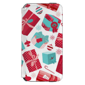 Red & Blue Retro Christmas Packages iPhone 6/6s Wallet Case