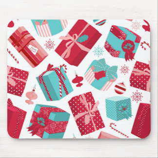 Red & Blue Retro Christmas Packages Mouse Pad