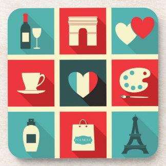Red & Blue Retro Paris Collage Coaster