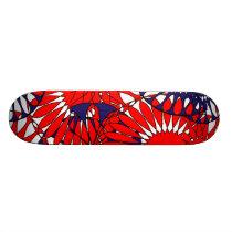 Red Blue Retro Pattern Skateboard