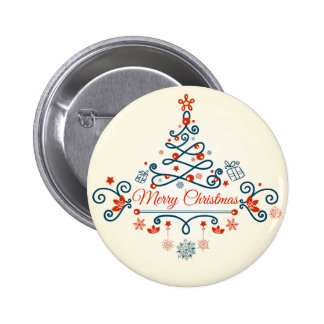 Red blue retro style Christmas tree design Buttons