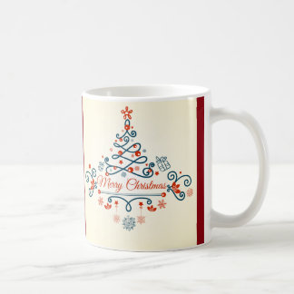 Red blue retro style Christmas tree design Coffee Mug
