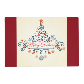 Red blue retro style Christmas tree design Placemat
