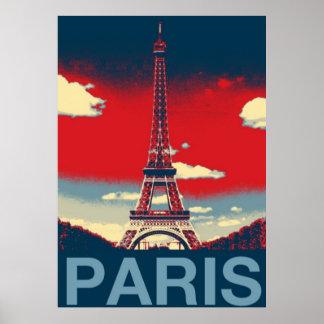 red blue retro vintage paris Effiel Tower fashion Poster