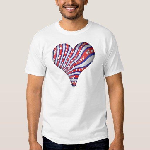 Red Blue Ribbon Heart T Shirt