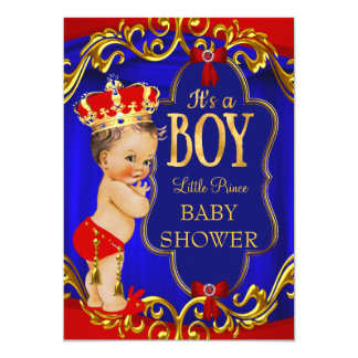 Red Blue Royal Boy Prince Baby Shower 5x7 Paper Invitation Card