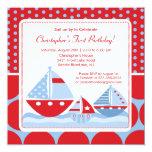"""Red & Blue Sailboat Birthday Invitation 5.25"""" Square Invitation Card"""