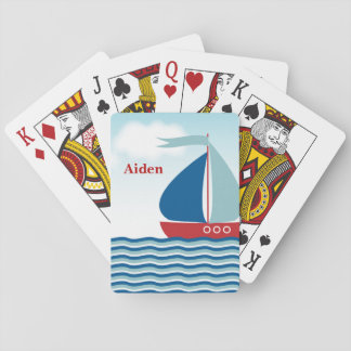 Red & Blue Sailboat on Water Waves, Personalized Poker Deck