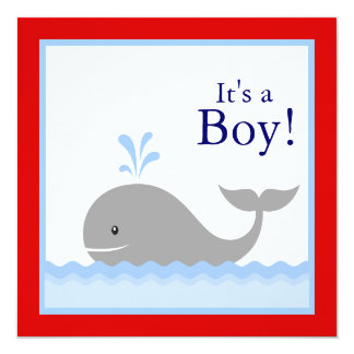 Red Blue Sailboat Whale Baby Boy Shower Card