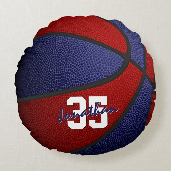 red blue school colors boys girls basketball decor round pillow