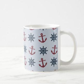 Red Blue Ship Wheel Anchor Pattern Coffee Mug