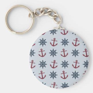 Red Blue Ship Wheel Anchor Pattern Keychain