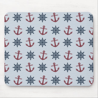 Red Blue Ship Wheel Anchor Pattern Mouse Pad