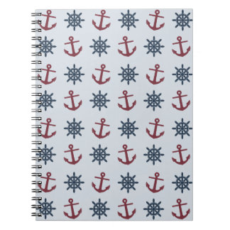 Red Blue Ship Wheel Anchor Pattern Notebook