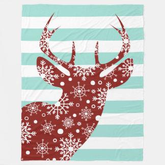 Red + Blue Snow Stripes Deer Fleece Blanket