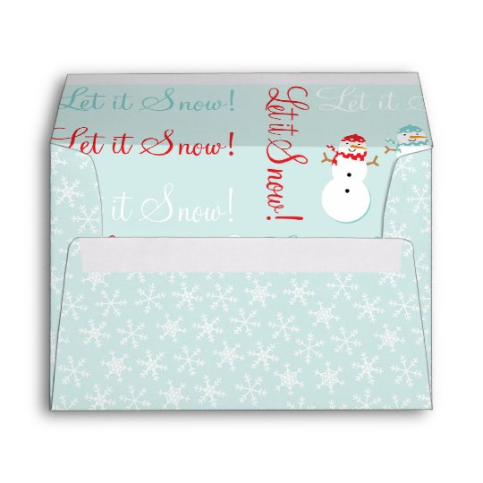 Red Blue Snowman and Snowflakes A7 Envelope