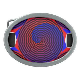 Red & Blue Spiral by Kenneth Yoncich Belt Buckle