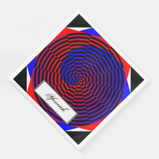 Red & Blue Spiral by Kenneth Yoncich Paper Dinner Napkin
