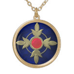 Red Blue Steampunk Celtic Cross Gold Plated Necklace