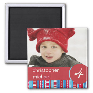 Red Blue Stripes & Dots Birthday Photo Magnet