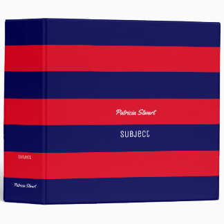 red & blue stripes with name and subject 3 ring binder