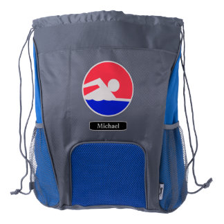 Red Blue Swimmer Logo Personalized Drawstring Backpack