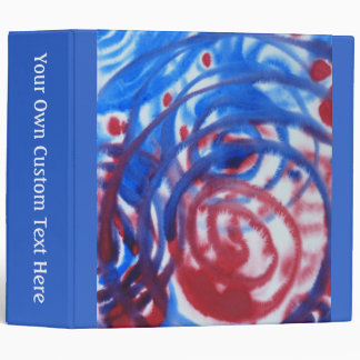 Red, Blue Swirls on Light Gray. Abstract Pattern. 3 Ring Binder