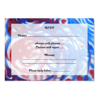 Red, Blue Swirls on Light Gray. Abstract Pattern. Card