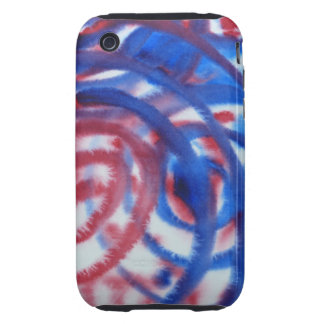 Red Blue Swirls on Light Gray Abstract Pattern Tough iPhone 3 Case