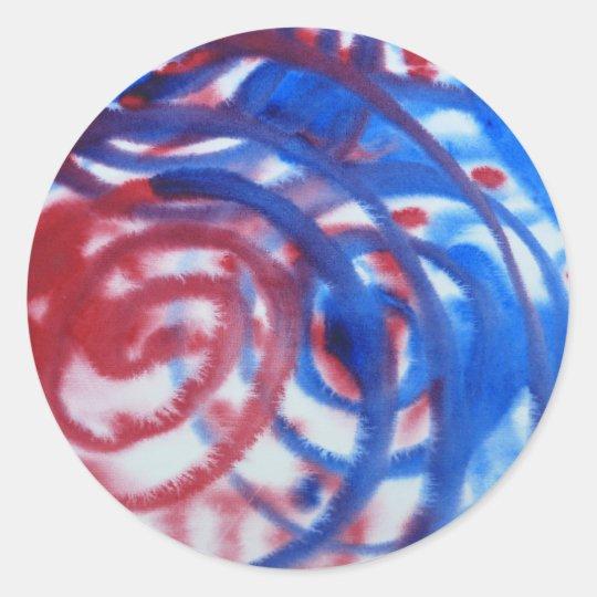 Red, Blue Swirls on Light Gray. Abstract Pattern. Classic Round Sticker