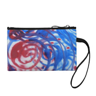 Red, Blue Swirls on Light Gray. Abstract Pattern. Coin Wallet