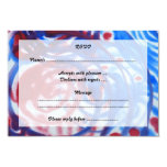 Red, Blue Swirls on Light Gray. Abstract Pattern. 3.5x5 Paper Invitation Card