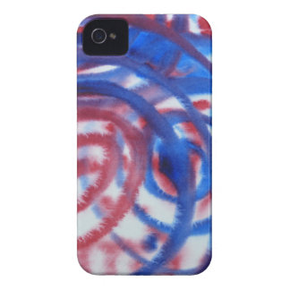 Red, Blue Swirls on Light Gray. Abstract Pattern. iPhone 4 Case