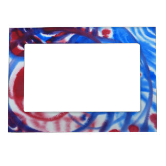 Red, Blue Swirls on Light Gray. Abstract Pattern. Magnetic Photo Frame